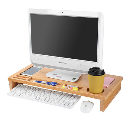 Bamboo Monitor Stand with Storage