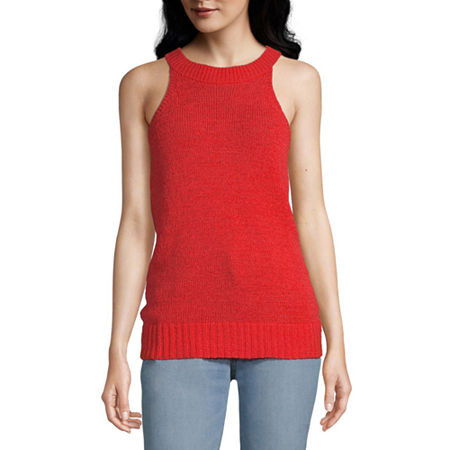 Worthington Womens High Neck Sleeveless Pullover Sweater, Large , Orange