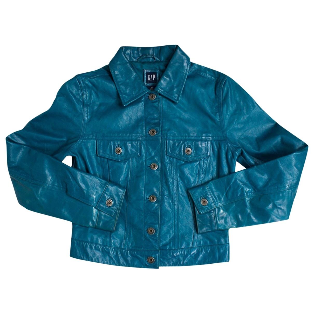 - Blouson   pour femme en cuir - bleu
