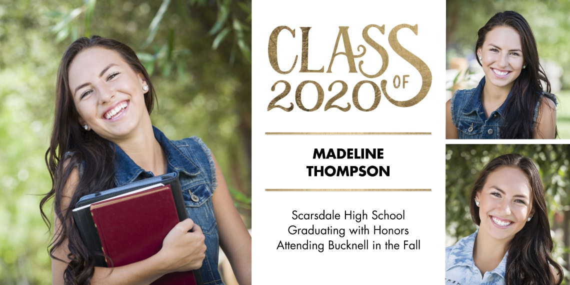 2020 Graduation Announcements Flat Matte Photo Paper Cards with Envelopes, 4x8, Card & Stationery -2020 Class of Gold by Tumbalina