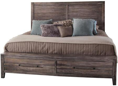 2800-50PSB Aurora Weathered Gray Queen Panel Bed with
