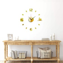 1pc Cup Decor Mirror Surface Wall Clock