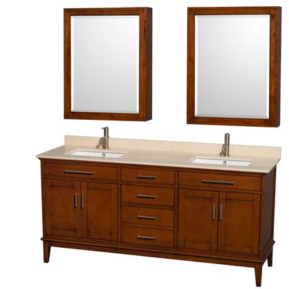 WCV161672DCLIVUNSMED 72 in. Double Bathroom Vanity in Light Chestnut  Ivory Marble Countertop  Undermount Square Sinks  and Medicine