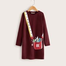 Maedchen T-Shirt Kleid mit Tasche Muster