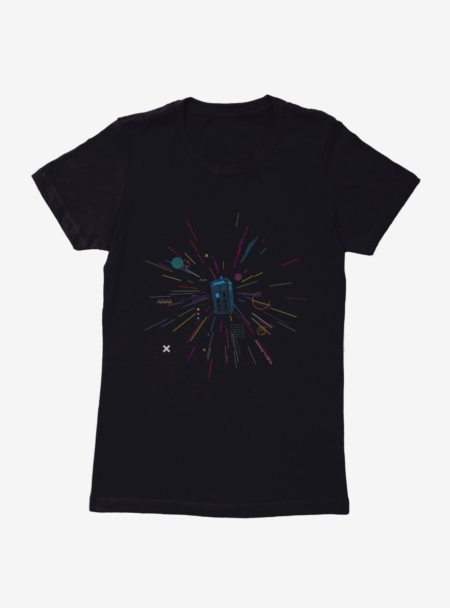 Doctor Who Thirteenth Doctor TARDIS Rainbow Of Explosion Womens T-Shirt