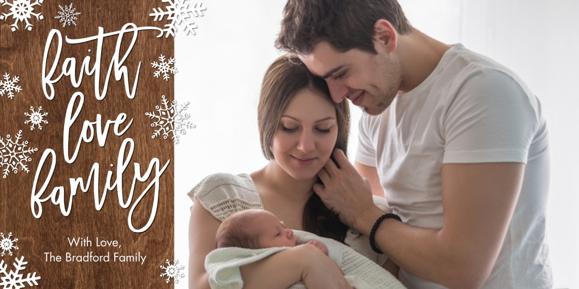 Christmas Photo Cards Flat Glossy Photo Paper Cards with Envelopes, 4x8, Card & Stationery -Christmas Faith Love Snowflakes by Tumbalina