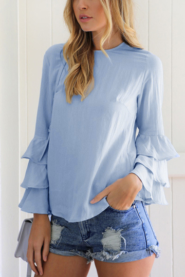 Yoins Blue Flared Sleeves Round Neck Blouse