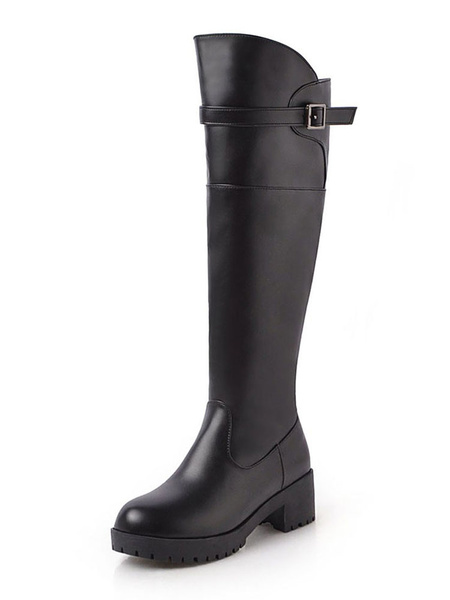 Milanoo Black Knee High Boots Womens PU Solid Color Round Toe Puppy Heel Casual Boots