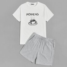 Men Letter and Coffee Print Tee and Slant Pocket Shorts PJ Set