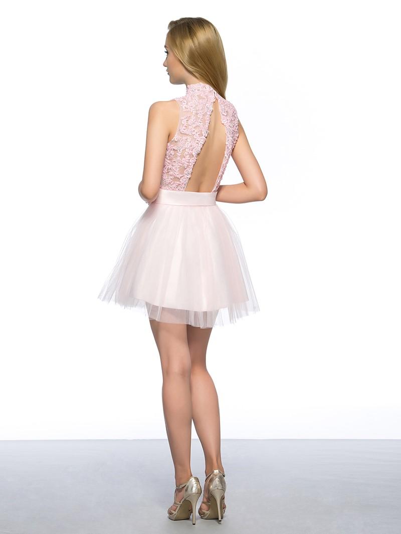 A-Line High Neck Appliques Homecoming Dress
