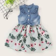 Kleinkind Maedchen Kleid mit Ruesche, Schleife und Blumen Muster