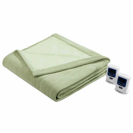 Beautyrest Ribbed Microfleece Heated Blanket, One Size , Green