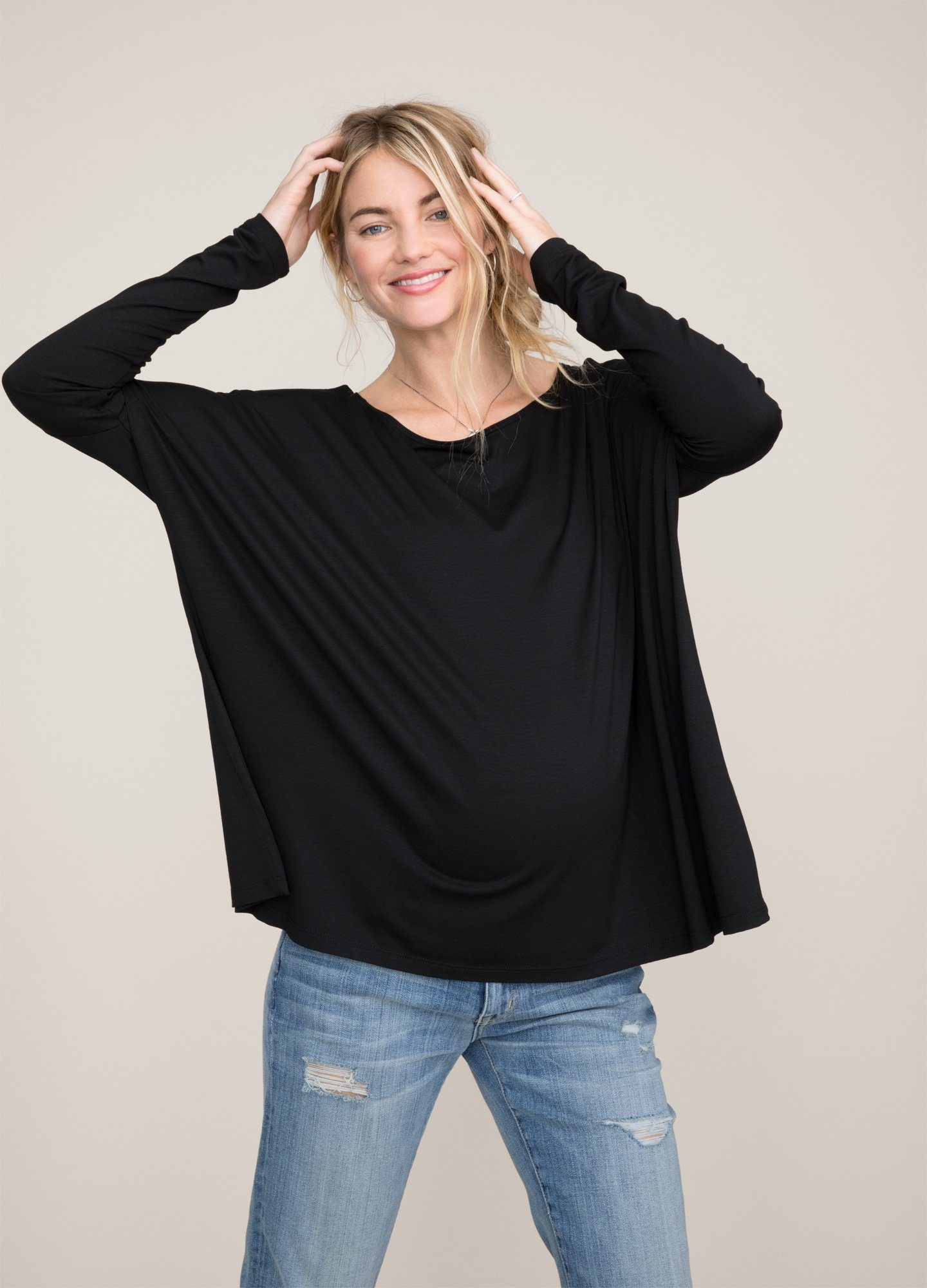 HATCH Maternity The Longsleeve Tee, black, Size 1