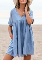 Pocket Ruffled V-Neck Mini Dress without Necklace - Blue