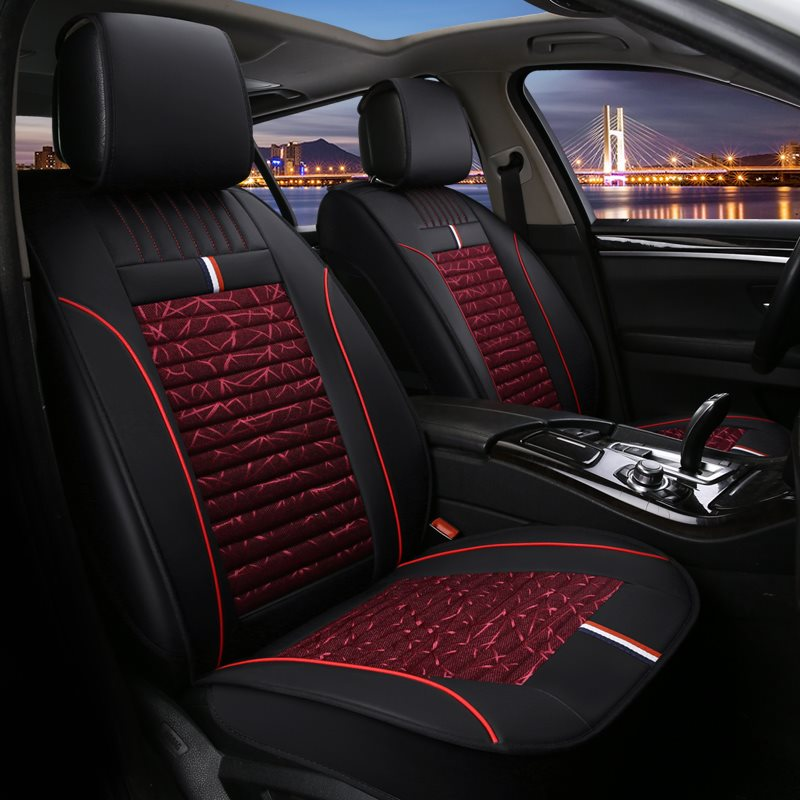 Full Coverage Wear-Resistant And Dirty-Resistant Classic Style Artificial Leather And Flax Mixture Material 1 Front Car Seat Cover Suitable For Most M