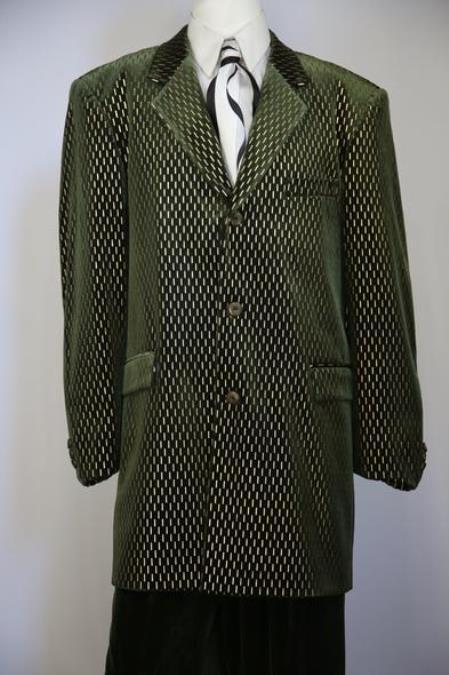 Laser Pattern Velvet Notch Lapel Green Zoot Suit