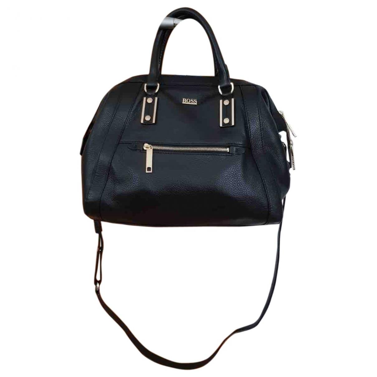 Boss \N Handtasche in  Schwarz Leder