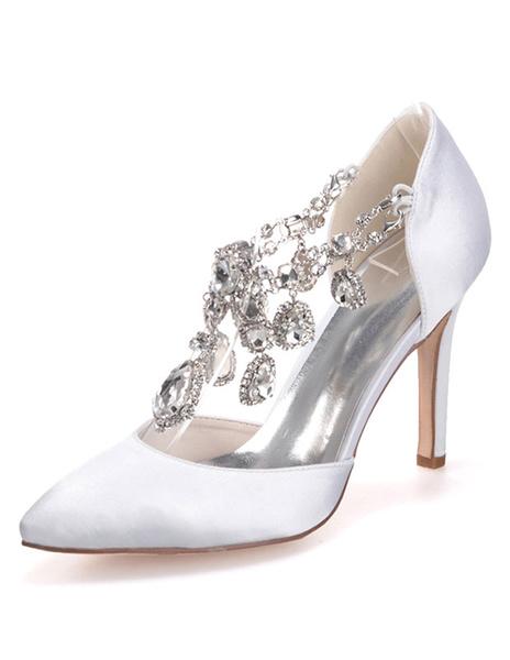 Milanoo Zapatos de novia de saten Zapatos de Fiesta de tacon de stiletto Zapatos Morado Zapatos de boda de puntera puntiaguada 9.5cm con joyas