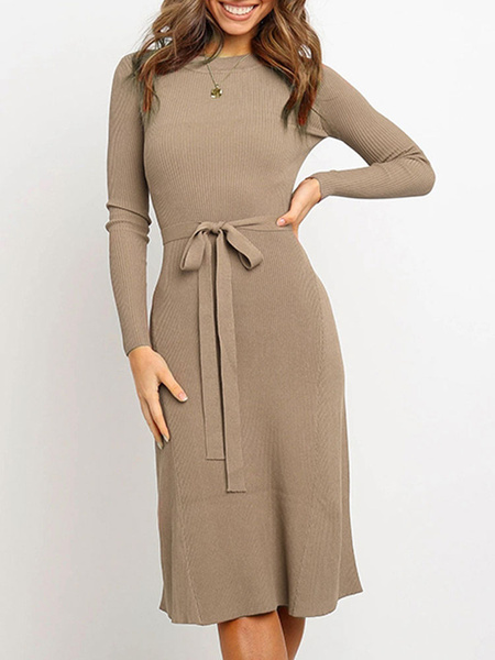 Milanoo Knitted Dress For Women Charming Jewel Neck Long Sleeves Acrylic Dress