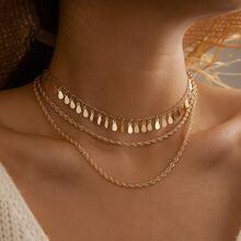 Waterdrop Disc Tassel Layered Necklace