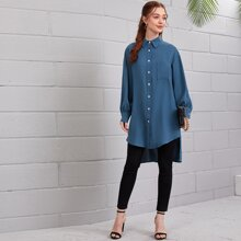 High Low Pocket Tunic Blouse