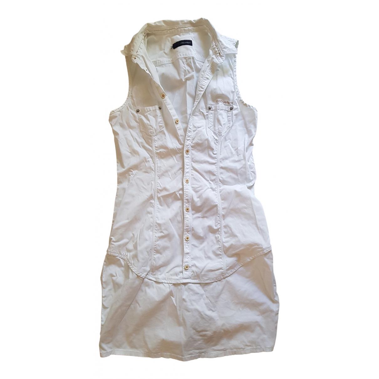 Dsquared2 \N Kleid in  Weiss Baumwolle