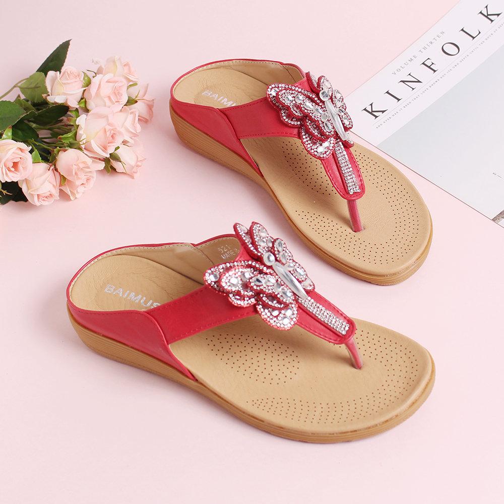 Bohemia Rhinestone Butterfly Soft Flip Flops Shoes Flat Slippers