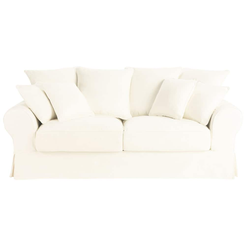 Ausziehbares 3-Sitzer-Sofa aus Baumwolle, elfenbein Bastide