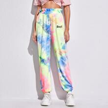 Ruffle Trim Letter Graphic Tie Dye Sweatpants