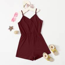 Girls Surplice Neck Cami Romper