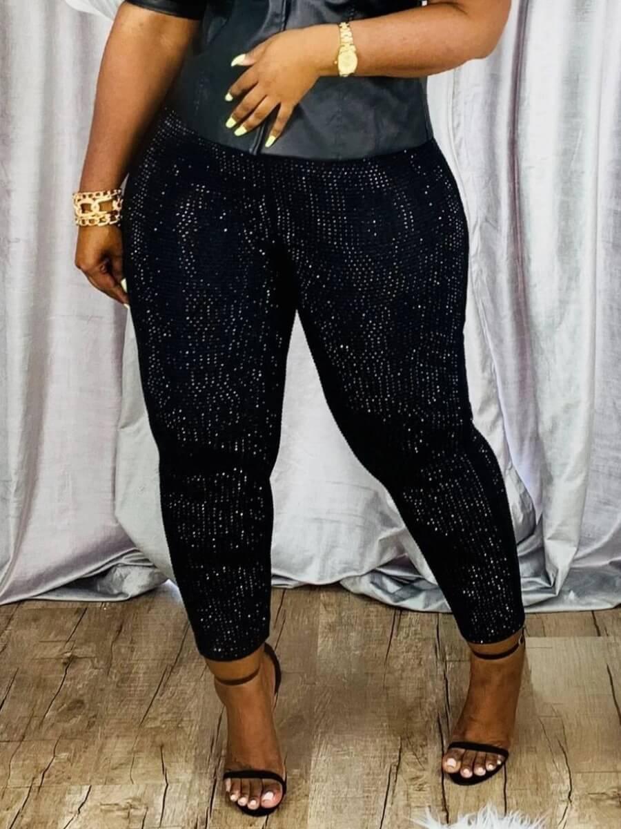 LW Lovely Casual Elastic Waist Print Black Pants