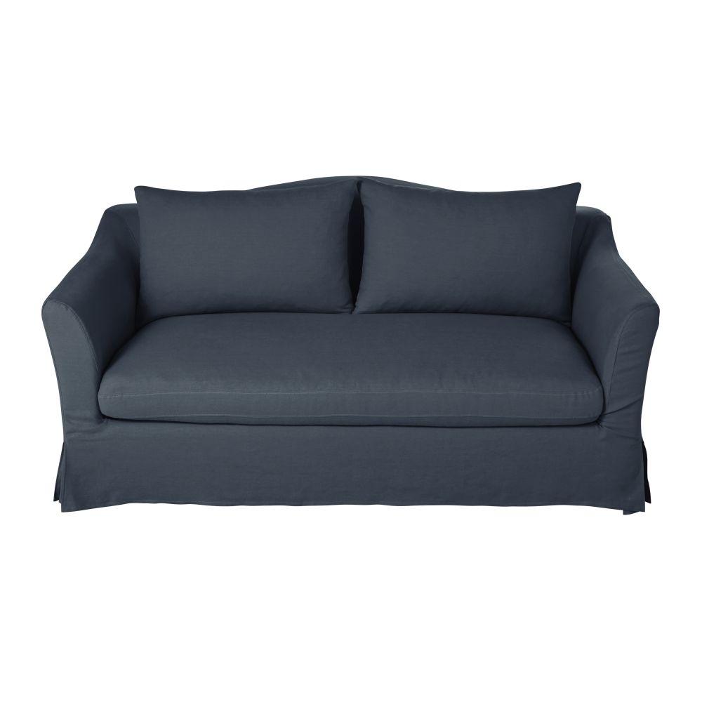 2-Sitzer-Sofa mit nachtblauem Leinenbezug Anaelle