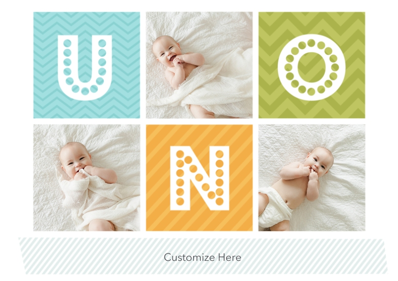 1st Birthday Invitations 5x7 Cards, Premium Cardstock 120lb with Scalloped Corners, Card & Stationery -Spanish - First Birthday - Blue