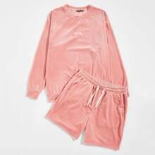 Samt Pullover mit Buchstaben Stickereien & Shorts Set mit Kordelzug auf Taille