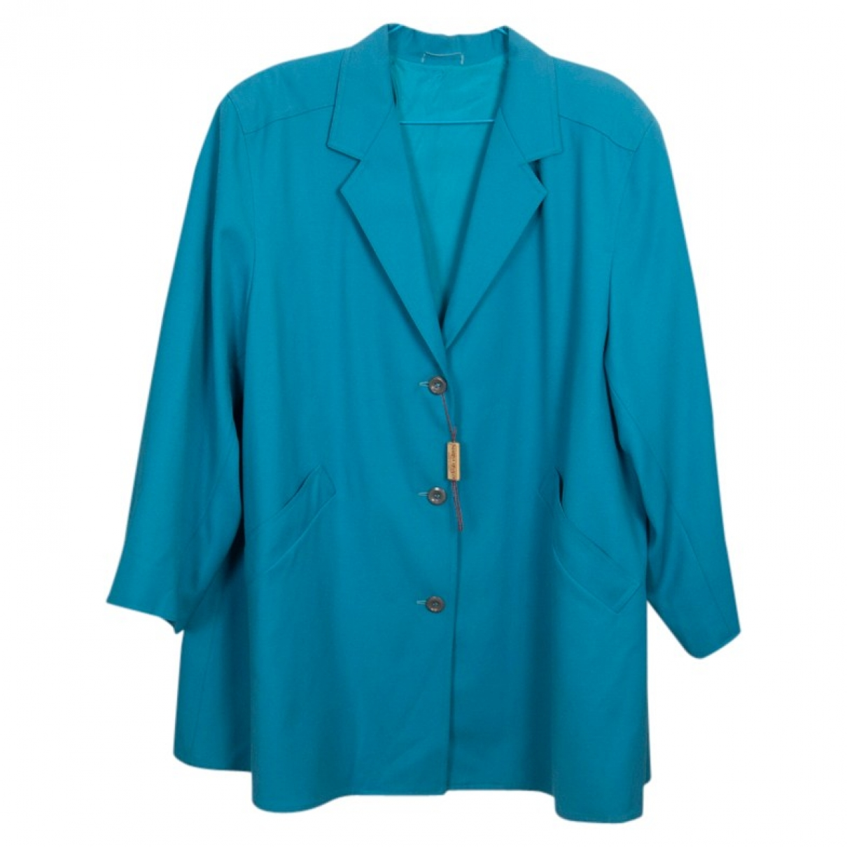 Non Signe / Unsigned Oversize Jacke in  Tuerkis Wolle