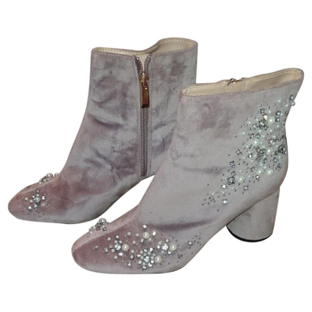 Zara \N Pink Velvet Ankle boots for Women 39 EU