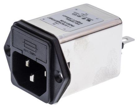 Schaffner ,6A,250 V ac Male Panel Mount IEC Filter FN261-6-06,Faston 1 Fuse