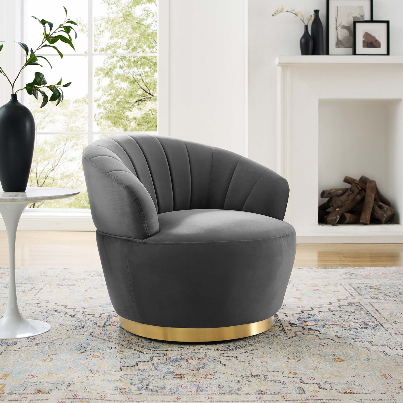Billow Tufted Performance Velvet Swivel Chair in Gray
