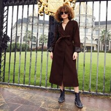 Mantel mit Kontrast PU Leder, Wickel Design und Guertel