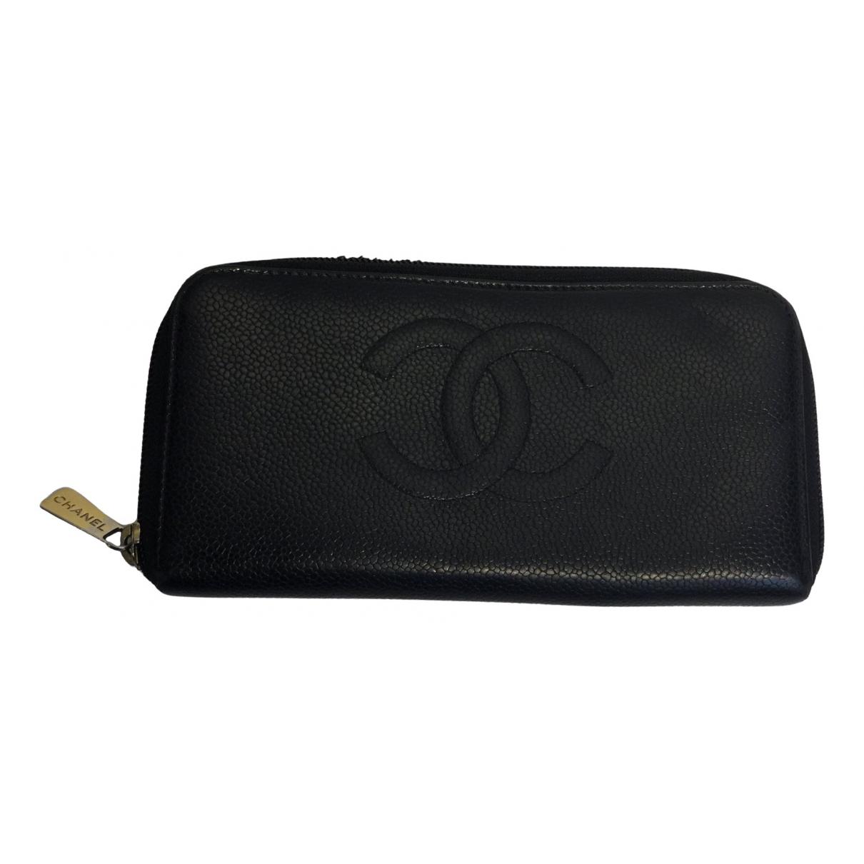 Chanel - Portefeuille   pour femme en toile - noir