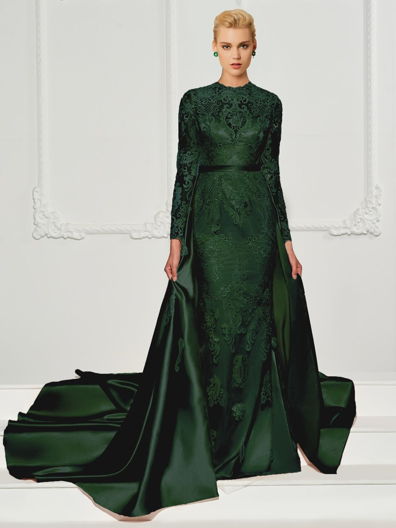Ericdress Appliques Lace Long Sleeves Evening Dress