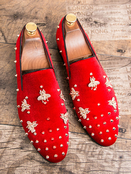 Milanoo Mens Spike Loafers shoes Glitter red Round Toe Corduroy Rivets Bee Detail Prom Shoes
