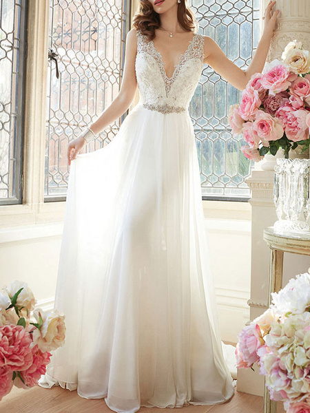 Milanoo Simple Wedding Dress 2020 A Line V Neck Sleeveless Floor Length Lace Bridal Gowns
