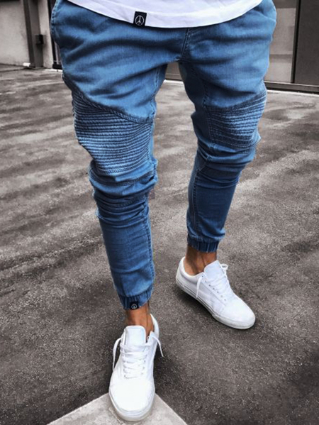 Yoins Men Ripped Washed Pleated Mid Waist Denim Jeans