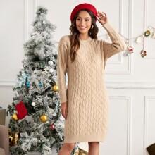 Einfarbig Laessig Pulloverkleider