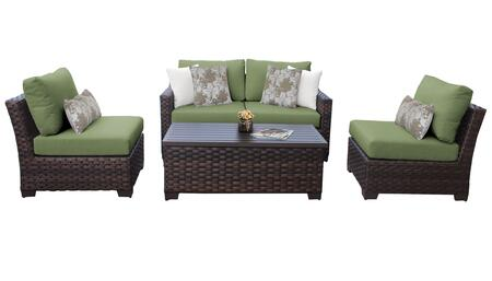 RIVER-05d-CILANTRO Kathy Ireland Homes and Gardens River Brook 5-Piece Wicker Patio Set 05d - 1 Set of Truffle and 1 Set of Forest