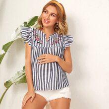 Maternidad top de sisa fruncido con diseño bordado de cuello V