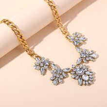 Gemstone Flower Charm Chain Necklace