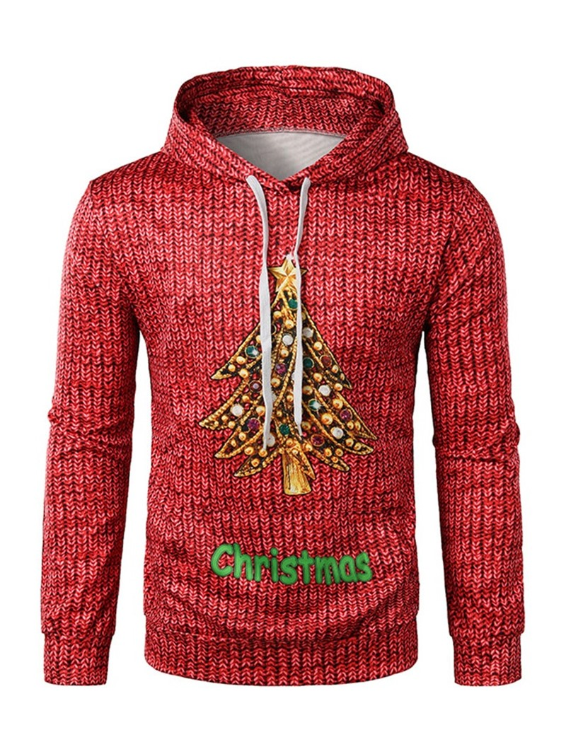 Ericdress Thick Print Letter Christmas Pullover Mens Hoodies