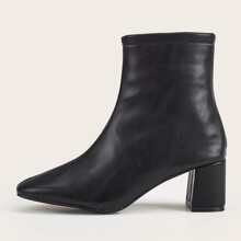 Side Zip Stitch Detail Chunky Heeled Boots